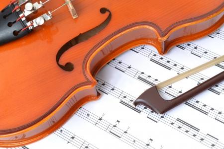 violins: close of violin and music sheet Stock Photo