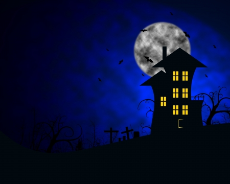 nite: halloween house on a hill with bats