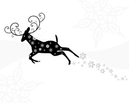 leaping: Black and White Leaping Christmas Deer Illustration
