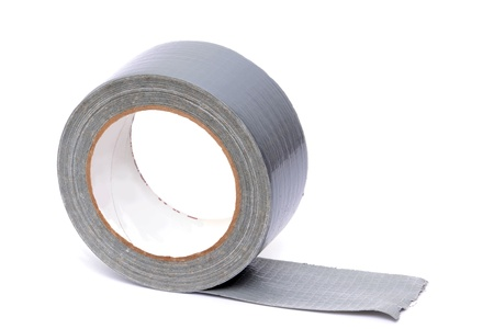 adhesive tape: roll of duct tape white background