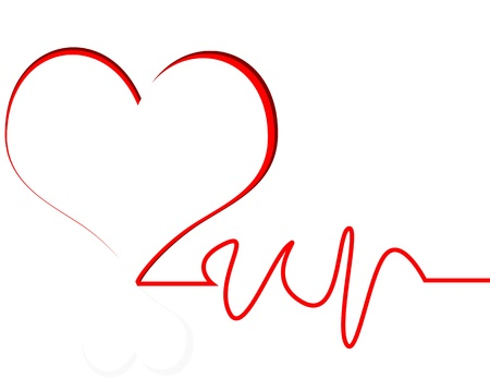 heart with line white background