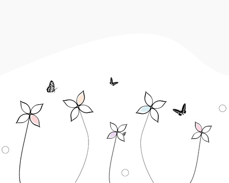 butterflies flying: abstract flowers and butterflies
