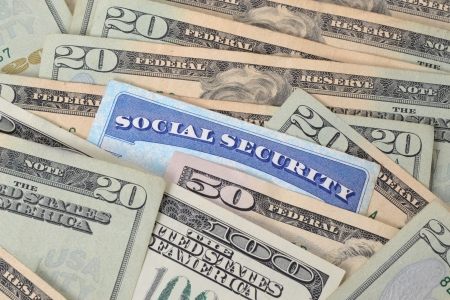social security: social security card and money concept