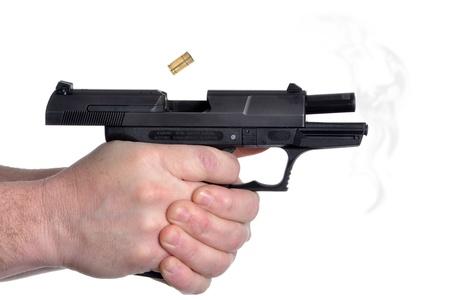 firing: man firing a handgun white background