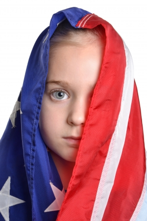 little girl wearing american flag white background