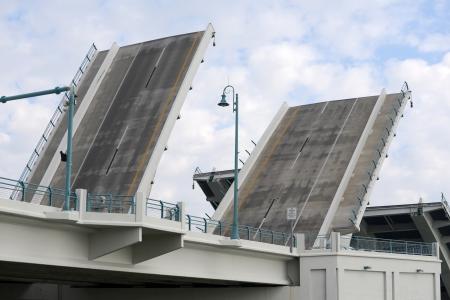 drawbridge: drawbridge opening for boats to pass under
