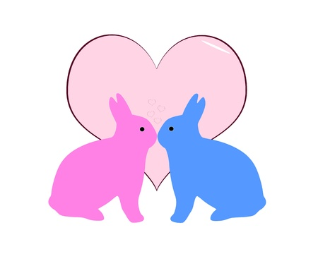 love kissing: pink and blue bunny love abstract