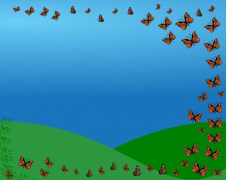飛行、自然の背景に蝶  イラスト・ベクター素材