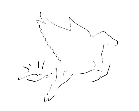 flying pegasus abstract black and white Vector