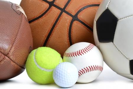 sports balls on white bckground photo