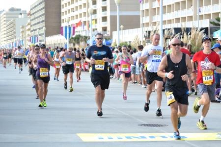 Virginia Beach, Virginia SEPTEMBER 1, 2013: Runners compete in the Rock N Roll Half Marathon Series September 1, 2013 in Virginia Beach, Virginia.