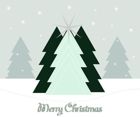 緑のクリスマス ツリーを抽象化し、陽気なクリスマス雪