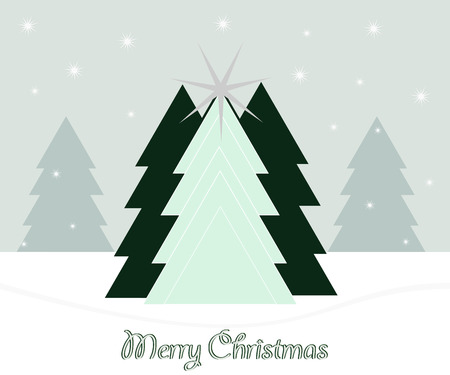 abstracte groene kerstbomen en sneeuw met vrolijke kerst Stock Illustratie
