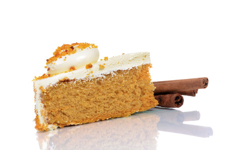slice of pumpkin cake isolated on white background