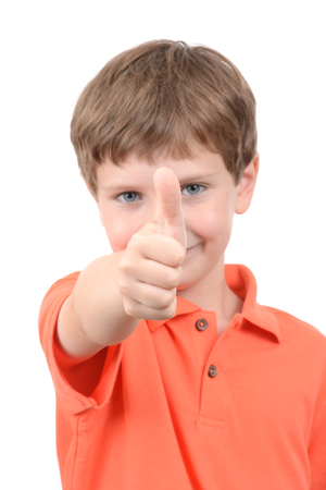 symbolical: young boy with thumbs up symbol isolated white background