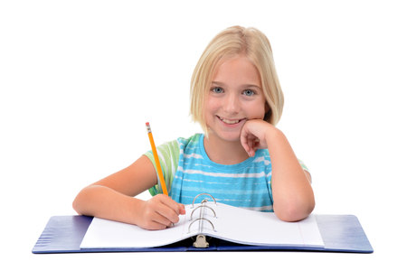 young girl student with pencil and notebook isolated on white background photo