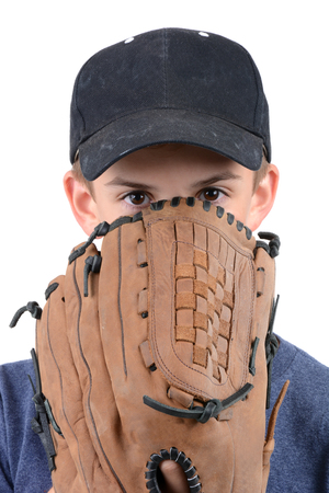 baseball glove: young boy with baseball glove and hat isolated on white background