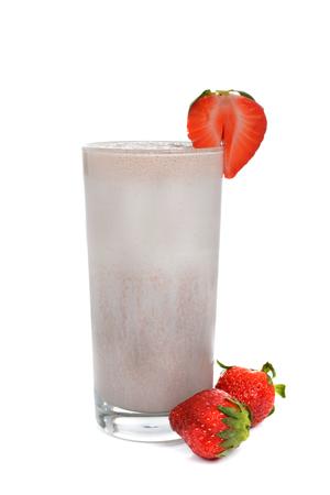 strawberry smoothie in glass isolated white background Zdjęcie Seryjne