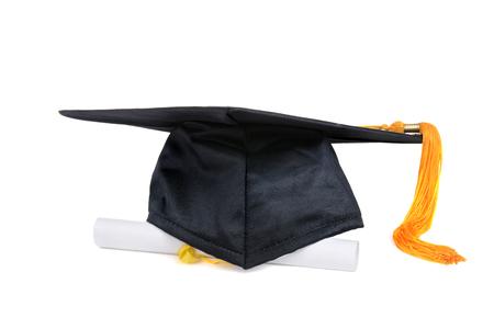 graduation cap and diploma on white background Zdjęcie Seryjne