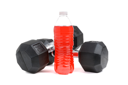 dumbbells and sports drink white background Stock fotó