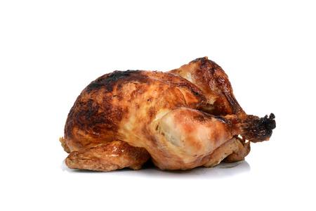 baked rotisserie chicken dinner on white background Stock Photo