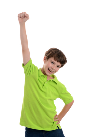young boy raising fist in the air white background Zdjęcie Seryjne
