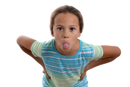 little girl sticking out tongue white background 版權商用圖片 - 85312714