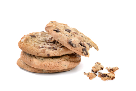 chocolate chip cookies and crumbs one with a bite isolated on white background Zdjęcie Seryjne