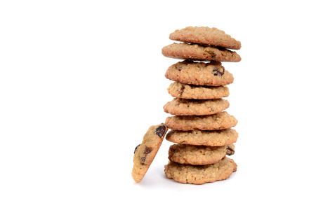 oatmeal raisin cookies stacked isolated on white background Zdjęcie Seryjne