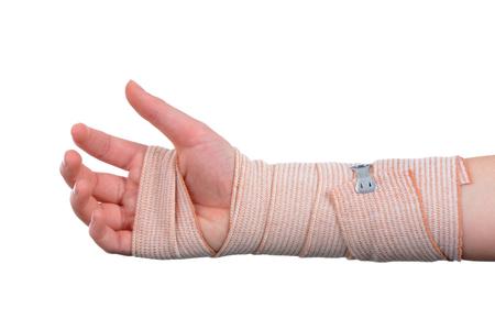 Child with bandage on arm isolated white background medical concept