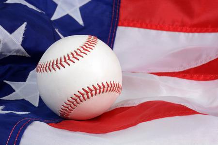 Baseball and the American flag background sports concept Zdjęcie Seryjne