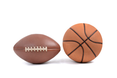 football and basketball isolated on a white backgroundsport concept