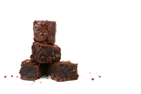 fresh baked brownies in a stack isolated on white background Zdjęcie Seryjne