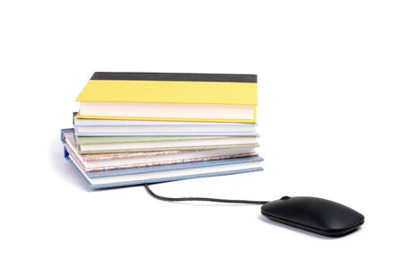 computer mouse and stacked books isolated white background learning concept Zdjęcie Seryjne