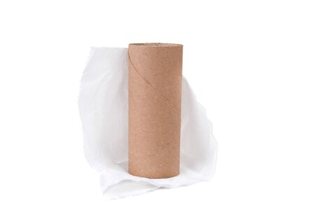 empty cardboard roll of toilet paper isolated white background