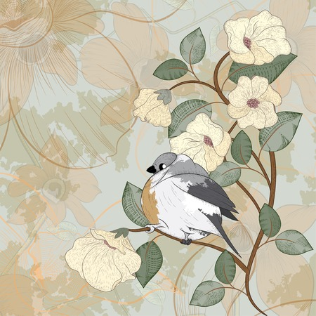 �ard: ?ard with bird can be used for website decoration, icon or holiday design Illustration