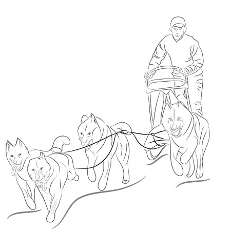 hand drawn illustration of dogs pulling a sled, black vector silhouette Vector