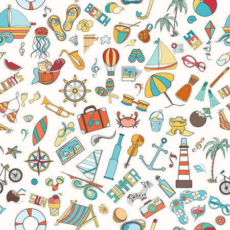 cover background time: Summer seamless pattern can be used for wallpaper, website background. Doodles hand drawn vector symbols and objects