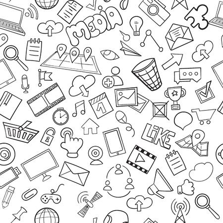 Il modello di social media senza soluzione di continuità può essere utilizzato per sfondo, sfondo del sito web. Doodles simboli e oggetti vettoriali disegnati a mano