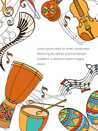 latino: Latino card. Frame of latino musical instruments. Latino background can be used as invitation card for wedding, birthday and other holiday and musical background. Vector illustration.