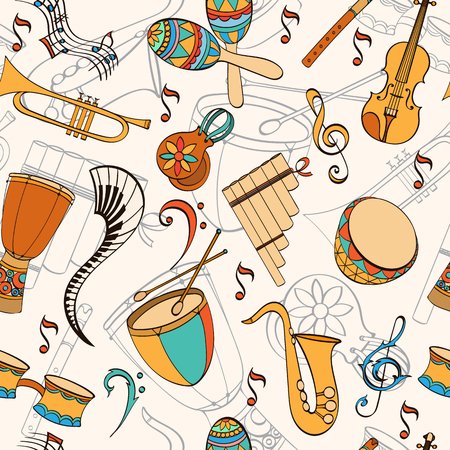 latino: Latino musical pattern. Pattern of latino musical instruments. Latino background can be used as invitation card for wedding, birthday and other holiday and summer background. Vector illustration.