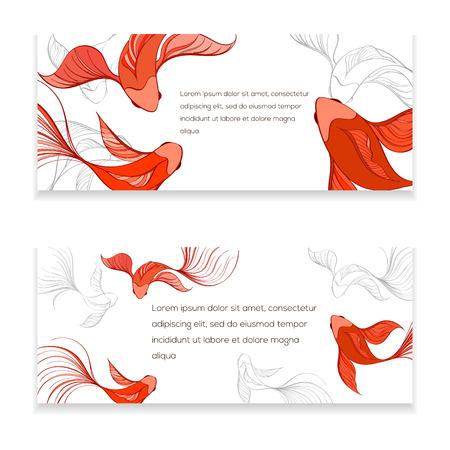 koi: Koi modern card. Hand drawn vector illustration of chinese fish