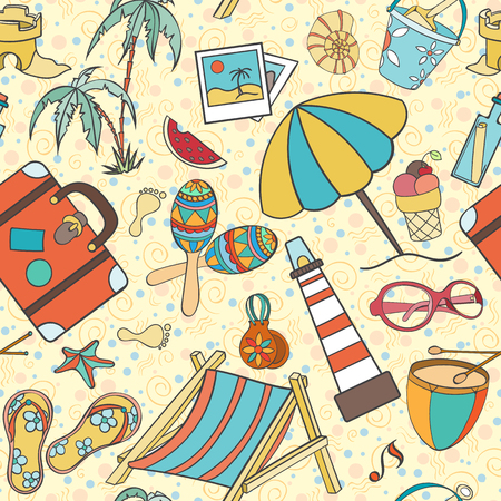 holliday: Summer seamless pattern can be used for wallpaper, website background, wrapping paper. Hand drawn vector summer symbols and objects. Travel colorful tropical holliday design. Summer vacation concept