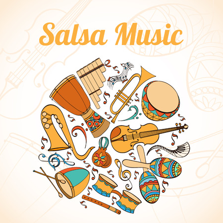 latino: Salsa musical card. Invitation of latino musical instruments. Latino background can be used as invitation card for wedding, birthday and other holiday and summer background. Vector illustration.
