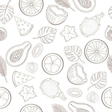 motif de fruits exotiques Seamless peut être utilisé pour le papier peint, fond site, papier d'emballage. conception de vacances. concept alimentaire. Vector illustration
