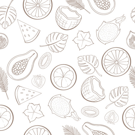 fig leaf: Seamless exotic fruit pattern can be used for wallpaper, website background, wrapping paper. Holiday design. Food concept. Vector illustration
