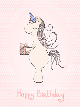 Hand Drawn Vector Unicorn Birthday Card And Which Can Be Used