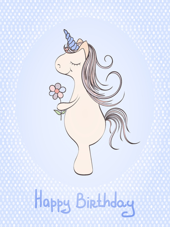 holliday: Hand drawn vector unicorn birthday card and which can be used for other holiday cards, invitation or website. Unicorn bright card. Holliday design. Birthday card concept Illustration