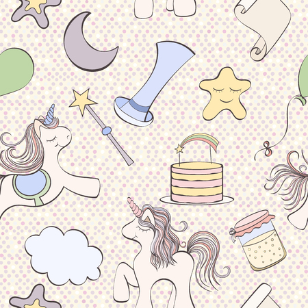holliday: Seamless unicorn pattern can be used for wallpaper, website background, wrapping paper. Unicorn bright pattern . Holliday design. Birthday concept