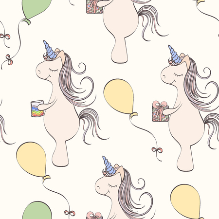 holliday: Seamless unicorn pattern can be used for wallpaper, website background, wrapping paper. Unicorn bright pattern . Holliday design. Bithday concept Illustration